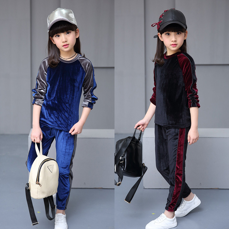 Autumn Two-piece Set Children Sports Set  Fall 2017 New Casual Fashion Girls Fleece Outfit baby children s clothing boys and girls set sweater autumn winter warm new fashion gold velvet leisure sports two piece a8888