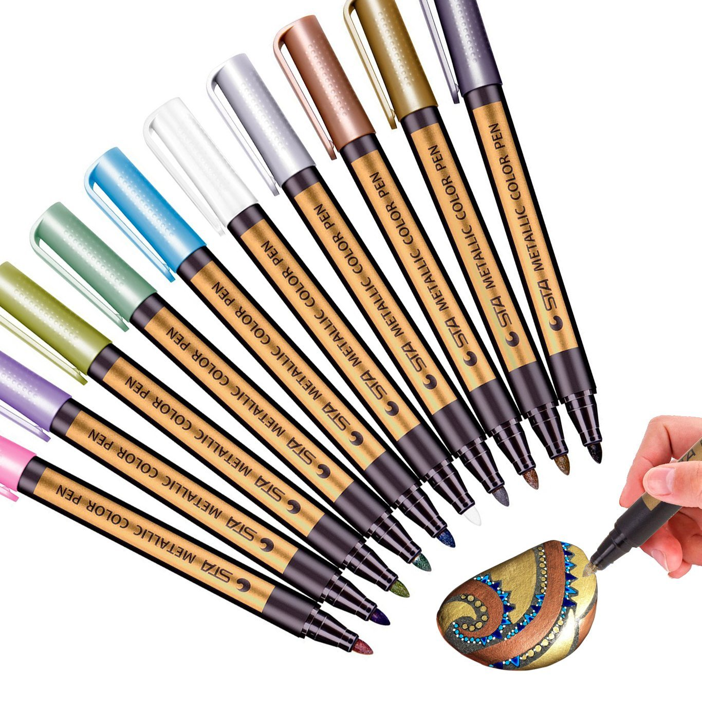 Fine Metallic Paint Markers Pens Medium Point Metal Art Permanent