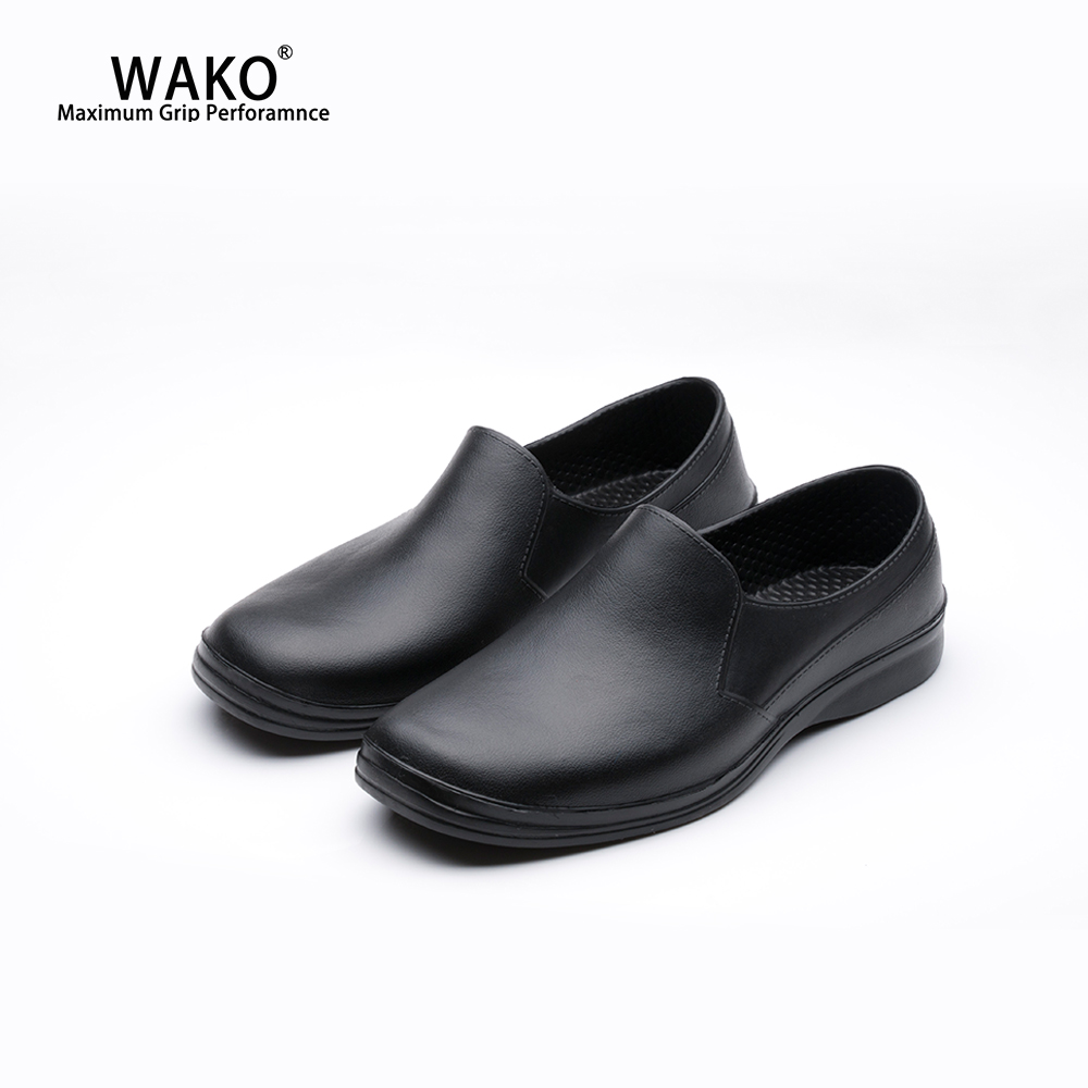 WAKO Men Chef Shoes Non-Slip Safety Working Kitchen Anti-Skid Waterproof Black Cook Sandals Clogs Breathable 9021