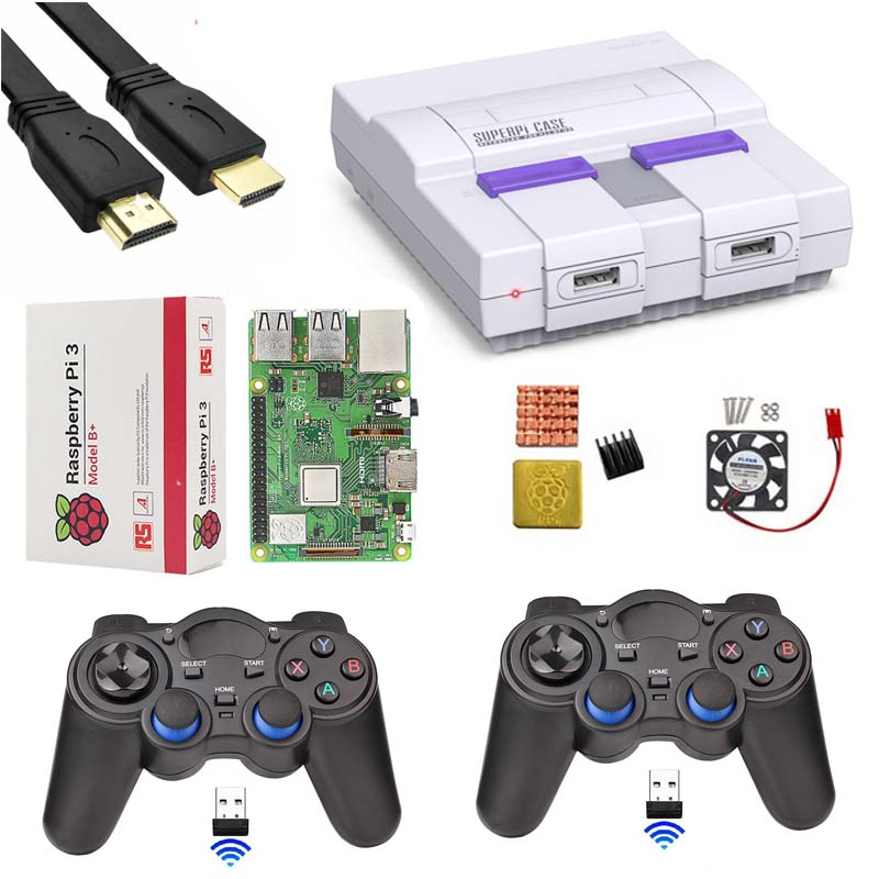 Retroflag SUPERPi CASE-U NESPi Case+ Raspberry Pi 3 Model B/B++HDMI+ 3A Power+Heat Sink+fan+HDMI+2.4GHz Wireless Gamepad Game