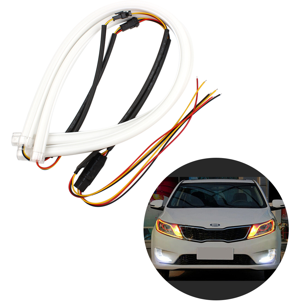 60cm DRL Daytime Running Lights Decorative Light With Turn Signal Headlight Angel Eyes light Flexible LED Tube Strip 2pcs 12v car drl led daytime running light flexible tube strip style tear strip car led bar headlight turn signal light parking