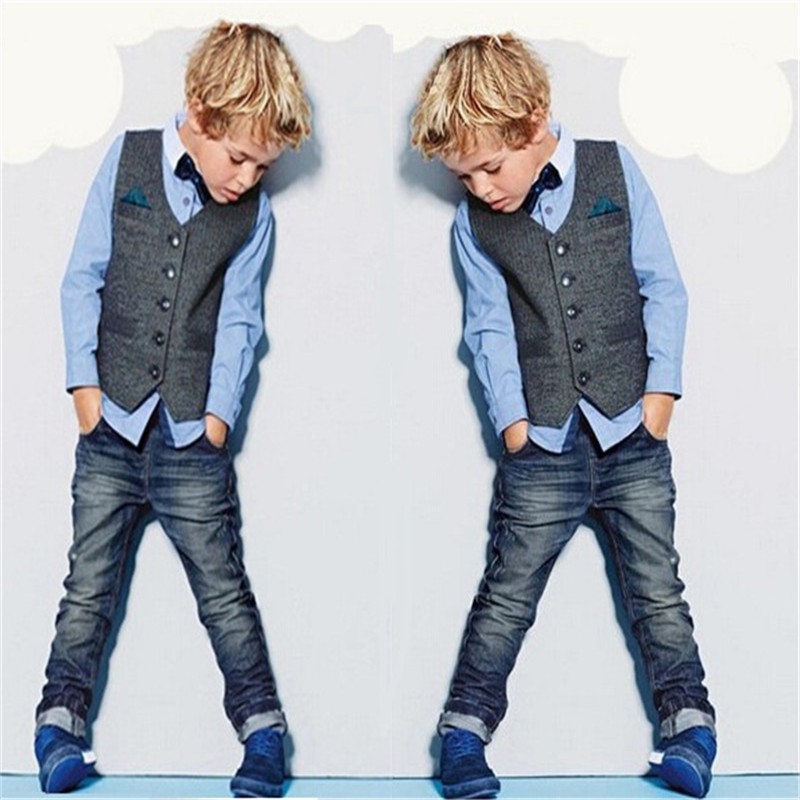 3pcs/set Kids Gentleman Clothes Children Boys Spring Clothing Sets Baby Costumes Shirt+Vest+Jeans Outfits Vetement Enfant Garcon top and top children boys clothing sets vest shirt pants 3 pcs set gentleman kids boy party clothes suits