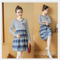 Maternity women SPRING SUMMER fall cotton dress with long sleeved striped denim Dot Dress PREGNANT WOMEN CLOTHES