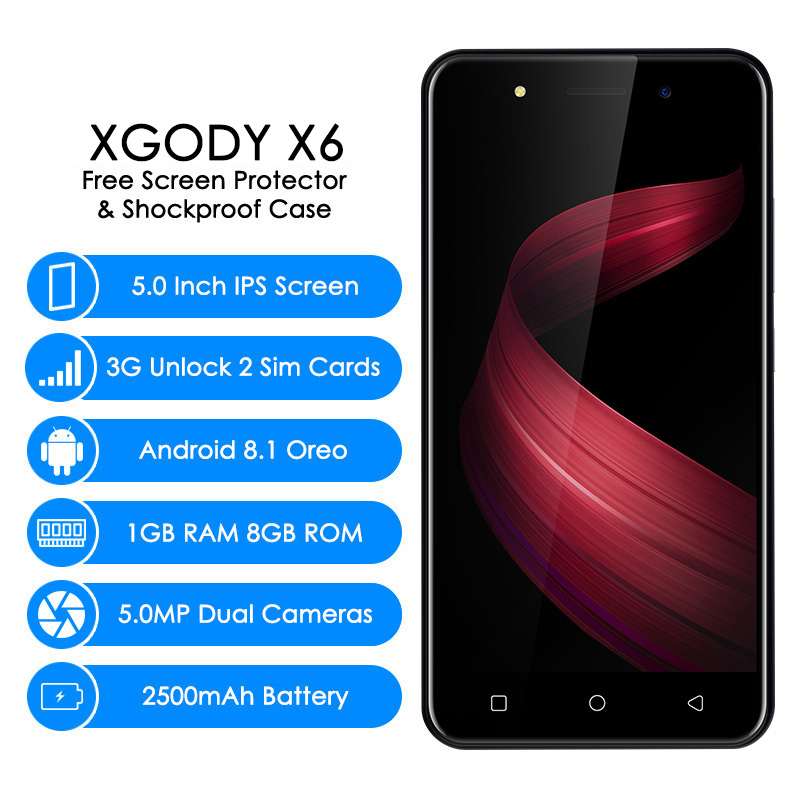 XGODY X6 3G Unlocked Smartphone 5.0 Inch Android 8.1 Oreo Quad Core 1GB+8GB 2500mAh Mobile Phone Cellphone Celular 5.0MP