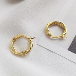 Peri'sBox 925 Sterling Sliver Small Twisted Hoops Earrings for Women Bohemia Geometric Circle Earrings Statement Hoop Earrings