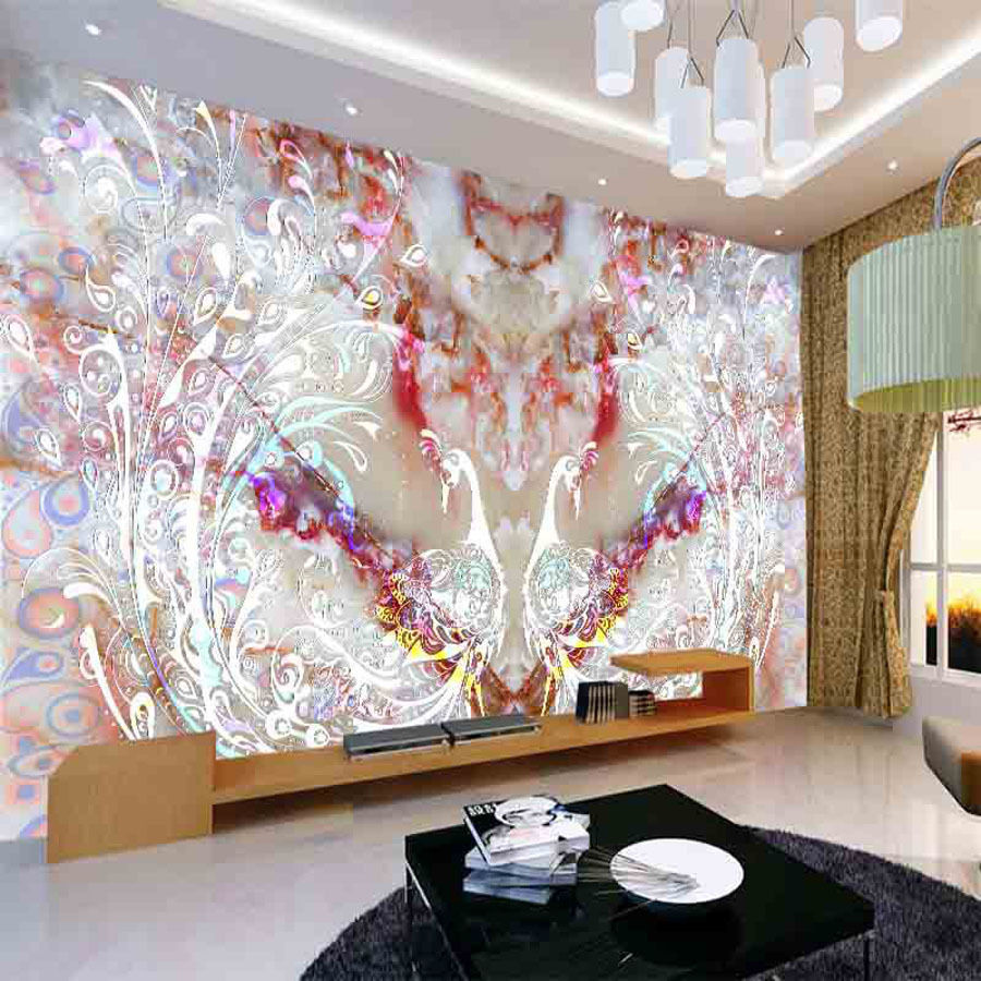 Nature animal peacock diy 3d wallpaper wall mural rolls for Hotel room wall decor