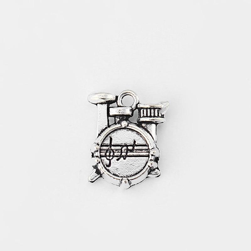 10pcs Antique Silver 3D Shelf Drum Music Charm Pendant Fit DIY Jewellery Making 13.5x16.5mm