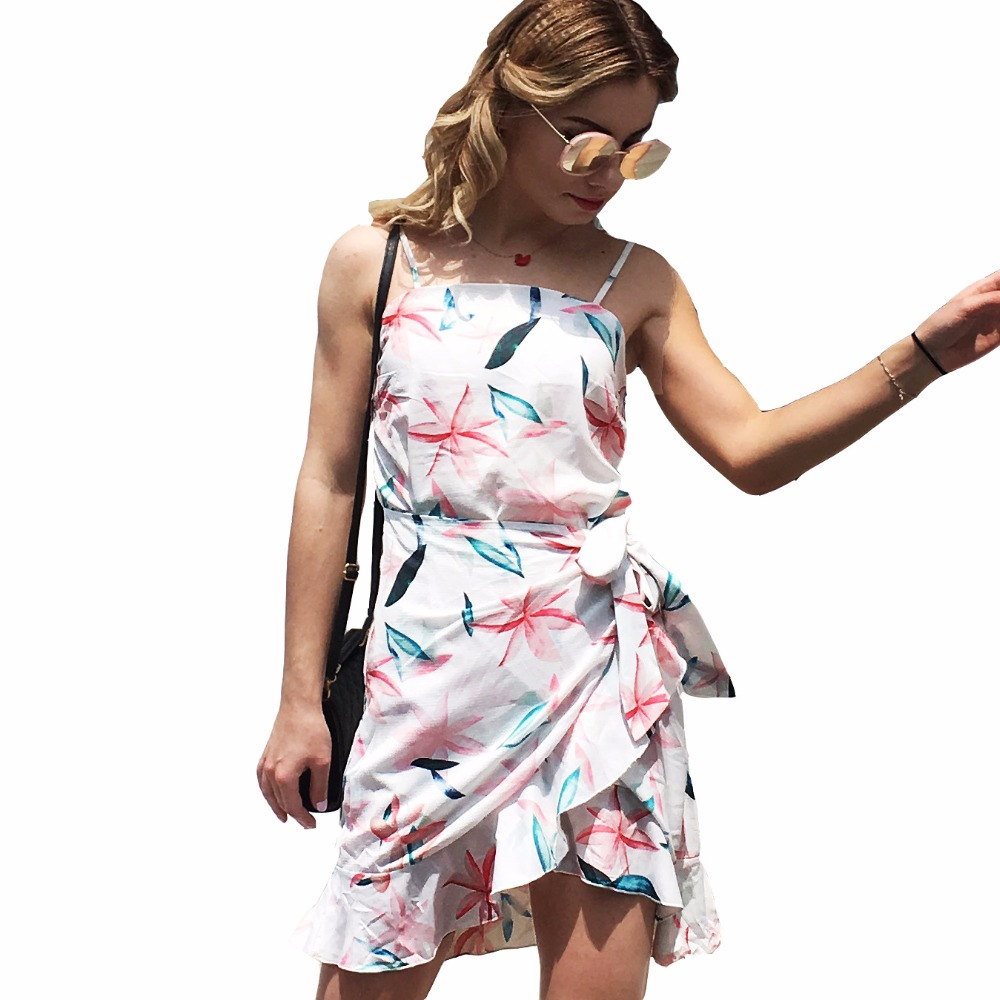 Women Dress Summer Spaghetti Strap Women Dresses Print Ruffles Vestidos Beach Seaside Resort Irregular Dreess DR015