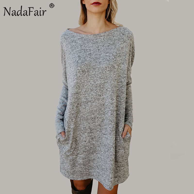 Nadafair O Neck Long Sleeve Oversize Women Casual Dress Spring Loose Streetwear Pockets Knitted Mini Dress coated rabbit knitted women dress 2018 spring elegant loose long sleeve o neck pockets dress casual female plus size