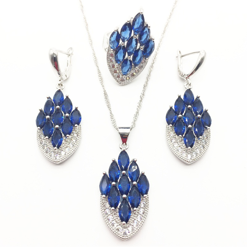 Aisure Montana Blue Zircon Silver Color Bridal Jewelry Set For Women Crystal Wedding Necklace/earrings/ring/pendant Durable Service