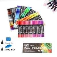 100 Цвета двойной Совет ручки-щетки арт маркер Fine Liner Brush Рисование Живопись фломастеры для окраски Manga каллиграфия