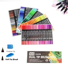 100 Color Dual Tip Brush Pen Felt Art Marker Fine Liner Drawing Painting Watercolor for Coloring Manga