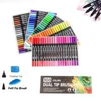 Bolígrafo de Punta doble de 100 colores, bolígrafo de punta de fieltro, marcador de arte, pincel de delineador fino, pincel de dibujo, bolígrafo de acuarela para Manga de Color