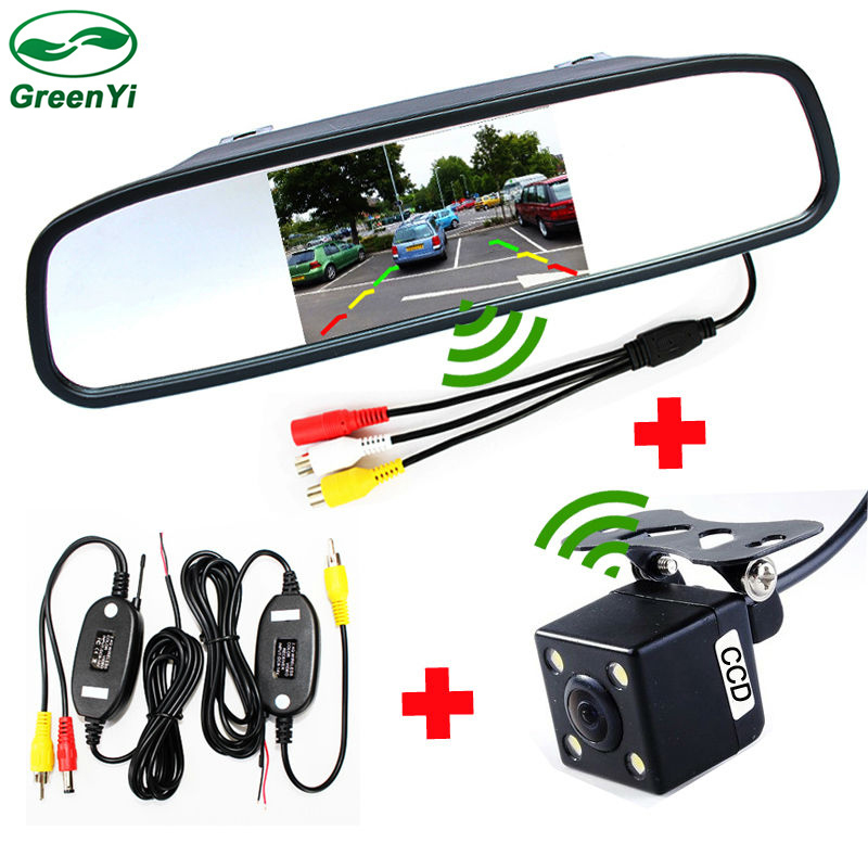GreenYi 2 4GHz Wireless Parking Assistance Car Video Monitor Camera System 4 3 Inch Mirror Monitor