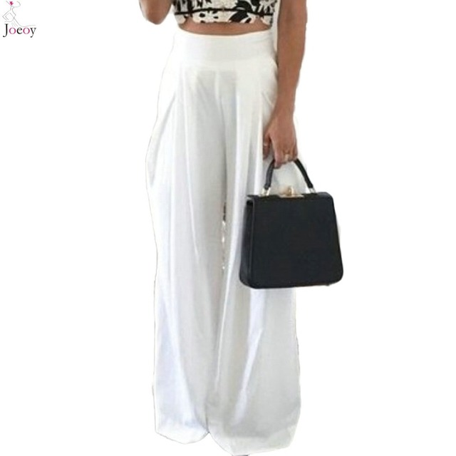 b3628f55cac0b Women White High Waist Wide Leg Palazzo Pants 2016 Spring New Loose Zipper  Fly Pleated Zipper Fly Plus Size Summer Capris