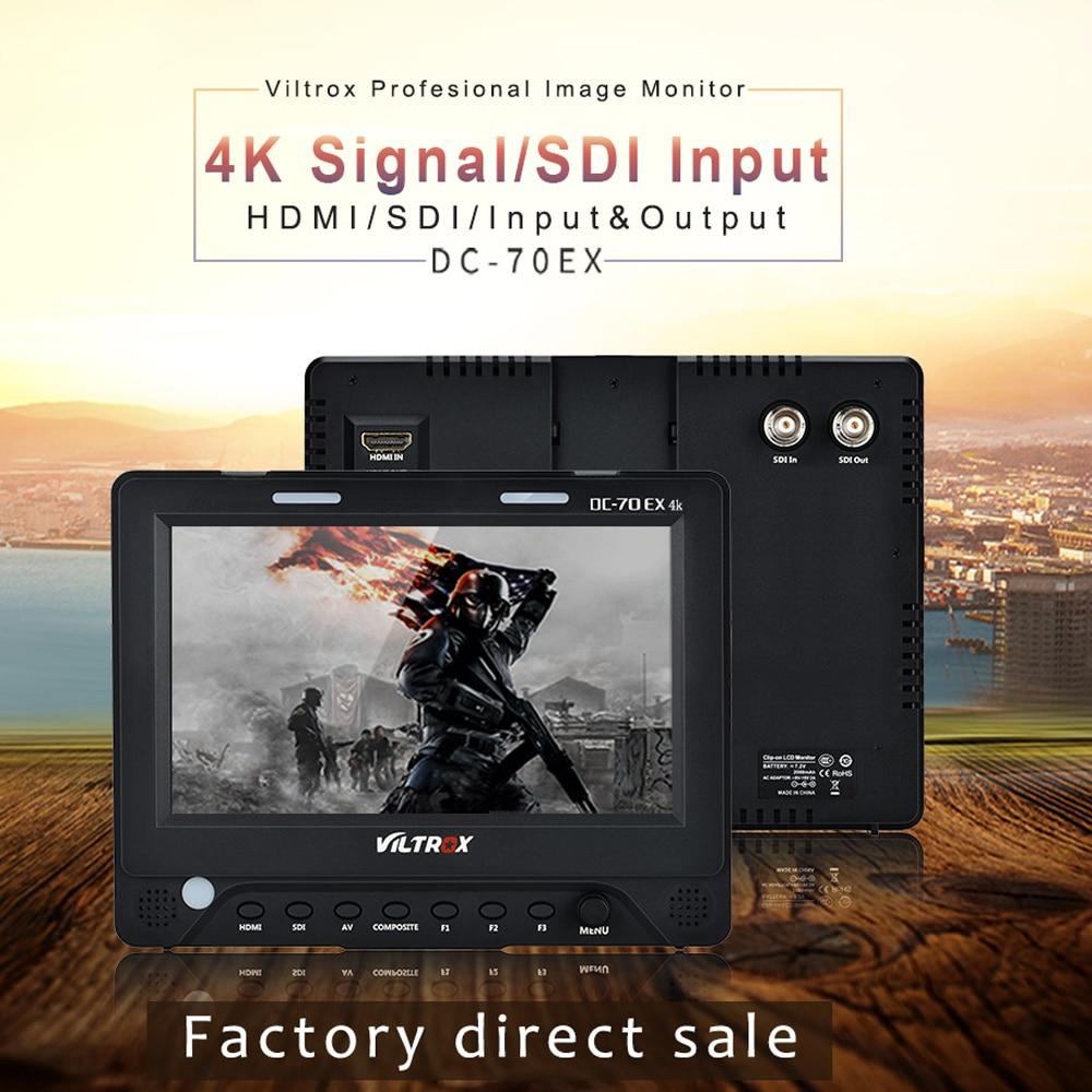 7 Viltrox DC-70EX 4K HD Clip-on HDMI/SDI/AV Input Output Camera Video LCD Monitor Display for Canon Nikon Pentax Olympus DSLR