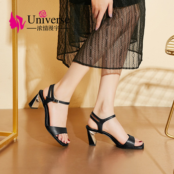 Universe Genuine Leather Women Summer Sandals High Heels 6cm Hand-made Open Toe Luxury Square Heel Ladies Sandals 2019 J175