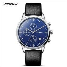 SINOBI Marca de Fábrica Superior de Lujo Para Hombre Cronógrafo Relojes Deportivos de Cuero de Moda Reloj de pulsera de Cuarzo Hombres Reloj Impermeable Relogio masculino