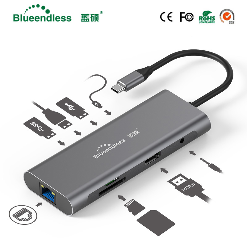 Adaptateur bluetooth Multi USB 3.0 HDMI vers répartiteur moyeu de USB C 3 ports USB-C Type C 3.1 pour moyeu de USB C accessoires MacBook Pro