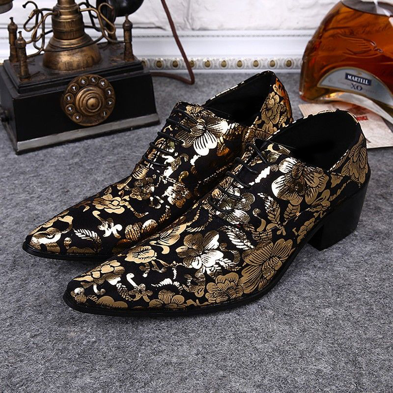 Plus Size Elegant Pointed Toe Man Banquet Modern Oxfords Genuine Leather High Heels Men's Formal Dress Wedding Party Shoes SL316 plus size 2016 new formal brand genuine leather high heels pointed toe oxfords punk rock men s wolf print flats shoes fpt314