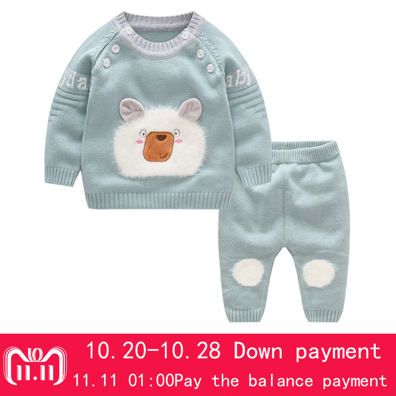 ropa de bebe 2018 New Knitted Sweater Girls Set Casual Cartoon Pattern Pullover + Pants 2 Sets Kids Infant Top Clothes Boys Suit боди для мальчиков baby boys bodysuits macacao ropa de bebe ve003