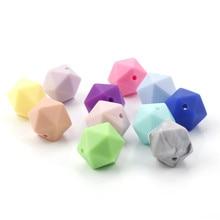 100 sztuk Icosahedron Food Grade silikonowe koraliki ząbkowanie 14mm dla dziecka karmienie ząbkowanie naszyjnik gryzak smoczek Bpa darmo