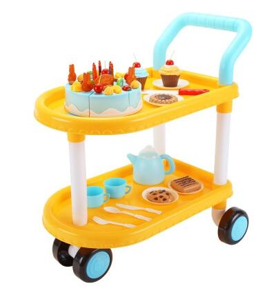 (73 pcs/set) Children DIY Cake Trolley Toys Set Children Kitchen Toys Kids Birthday Gift Play Simulation Cake Toys