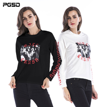 PGSD New Simple Fashion Women Clothes Autumn Winter Individual Letter Printed Round Neck Long sleeves Sweatshirt Pullover female
