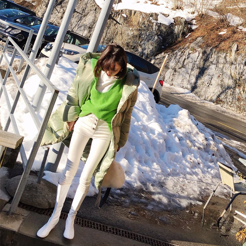Pantalones De Corte Lápiz Para Alta Botones Denim Blanco Primavera Moda Vaqueros Cintura Lados Streetwear Encaje Slim 2019 White Largo Mujeres fwndtq47f