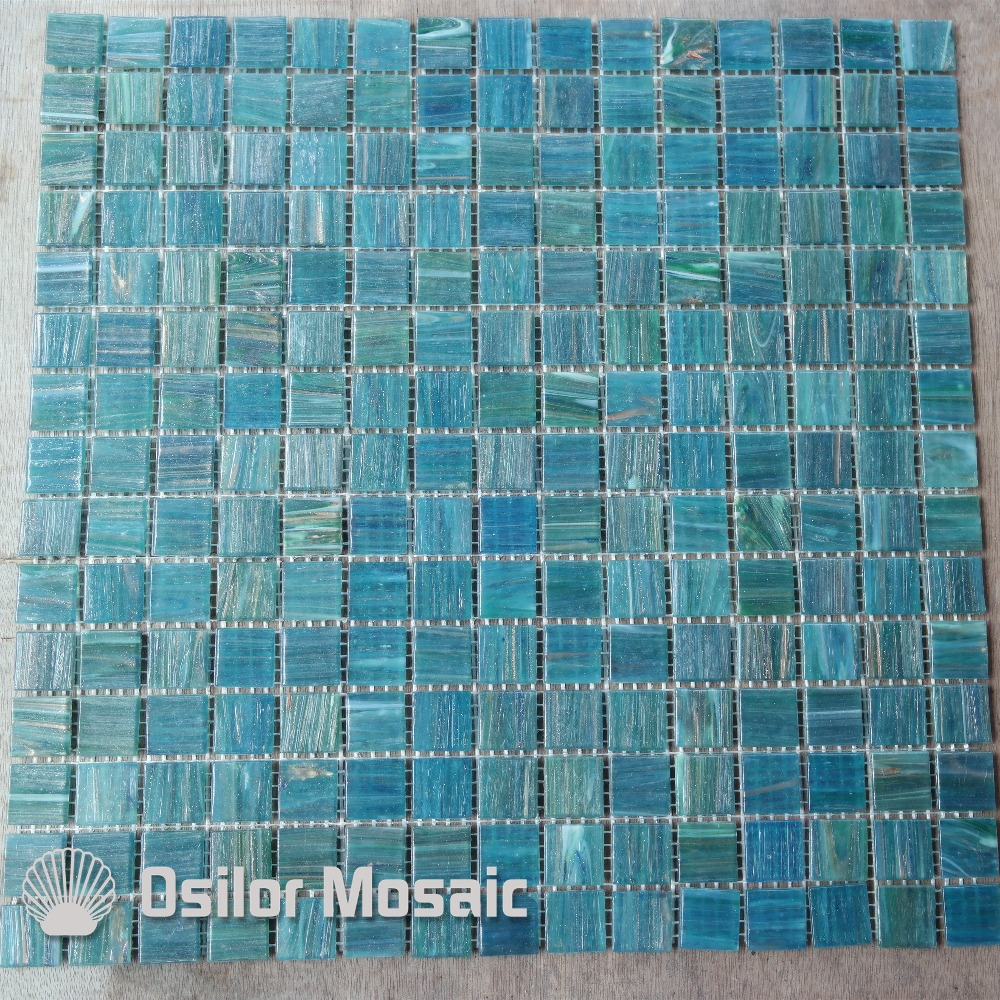 Customized Gradient glass mosaic tile swimming pool wall tile ...