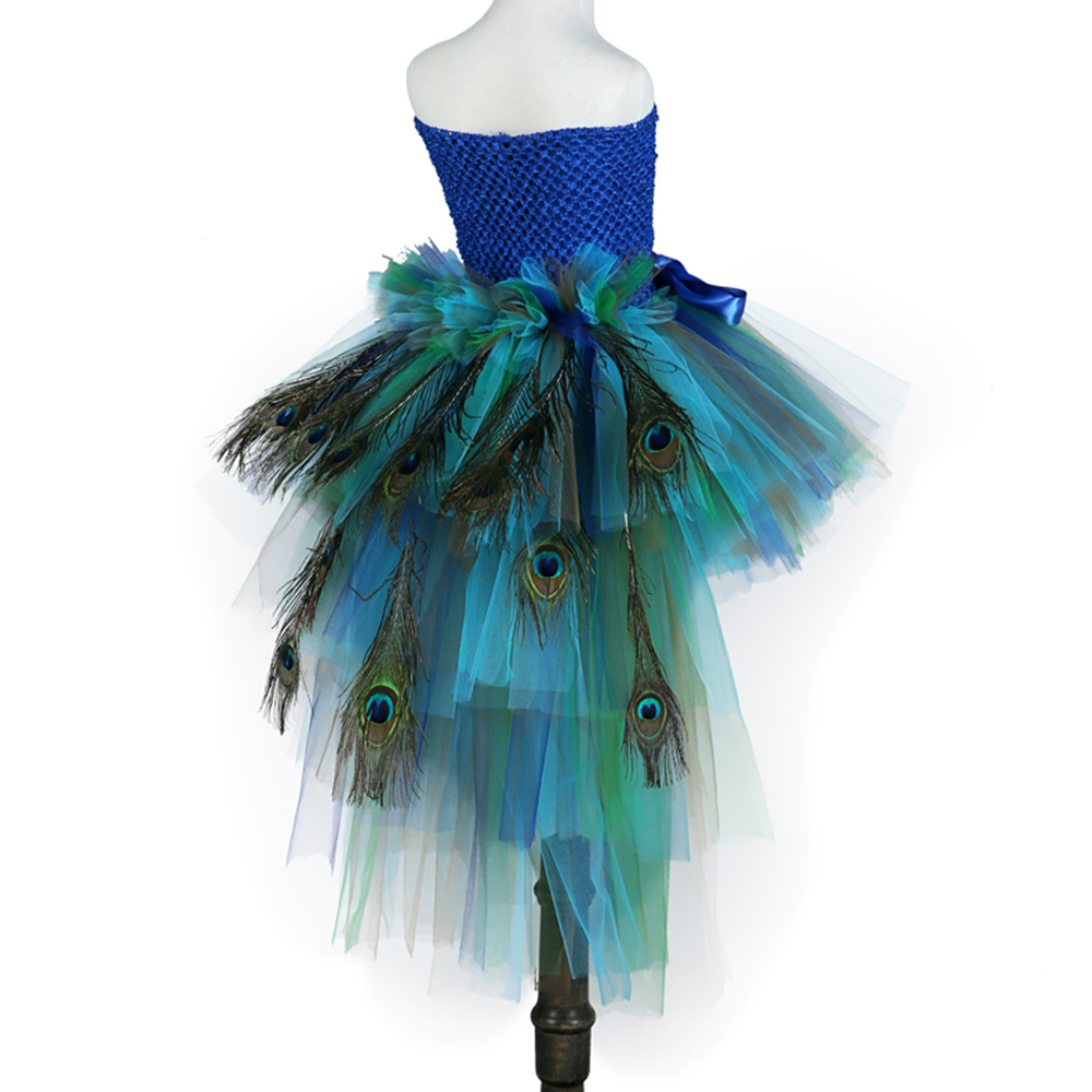 Elegant Long Tail Peacock Tutu Dress for Kids Girl Clothes Children Wedding Party Celebrity Carnival Peacock