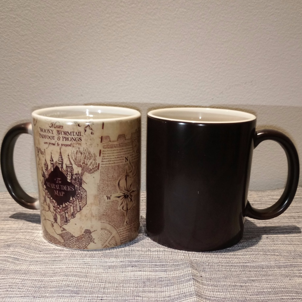1Pcs Magic Mugs Harry Hot Drink Cup Color Changing Mug Marauders Map MOONY WORMTAIL PADFOOT PRONGS Compass Cup Creative Gifts harry potter mug marauders map