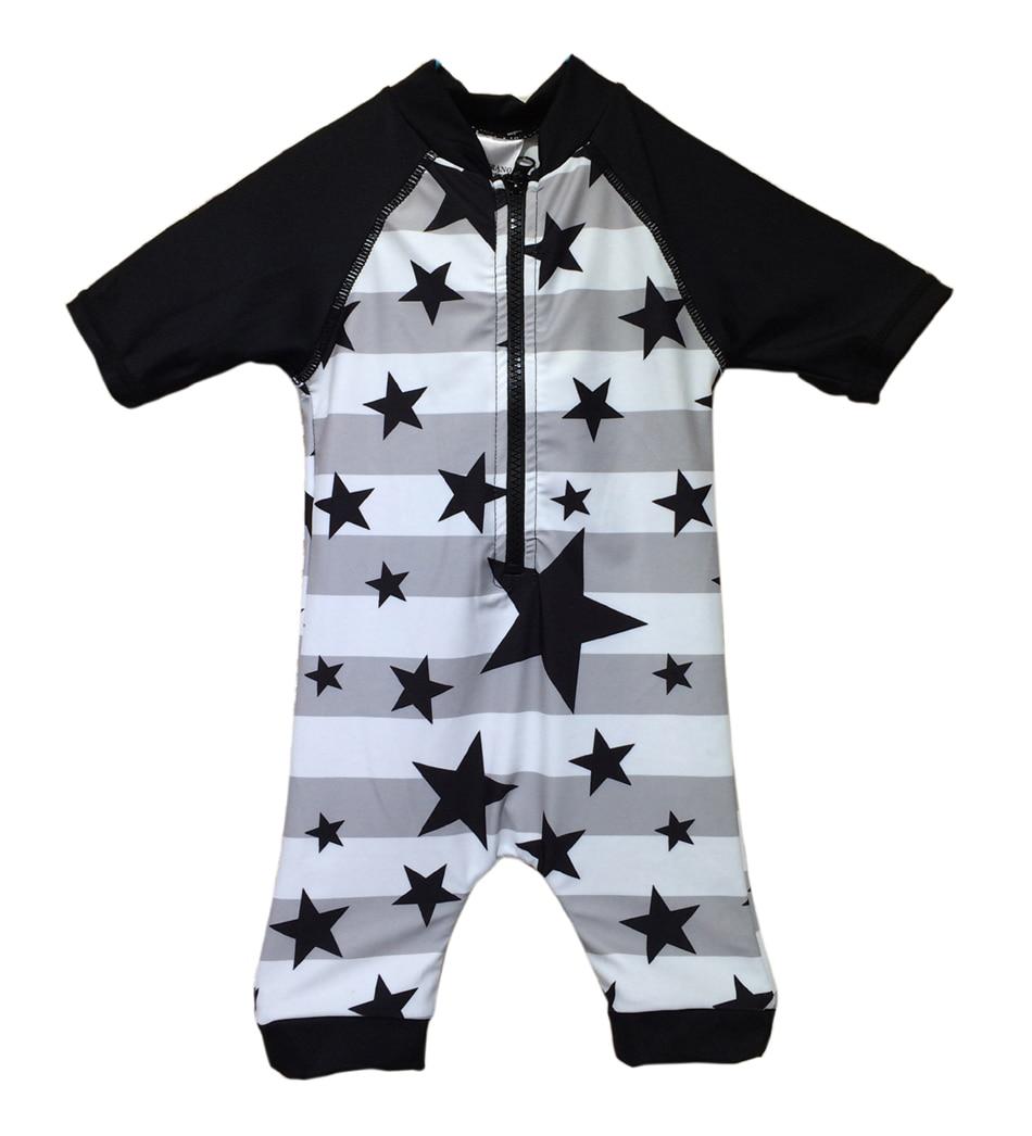 Бонверано (TM) Бебешки момчета Sunsuit SwimwearUPF 50+ UV защита S / S цип звезда едно парче бански костюм Rashguard