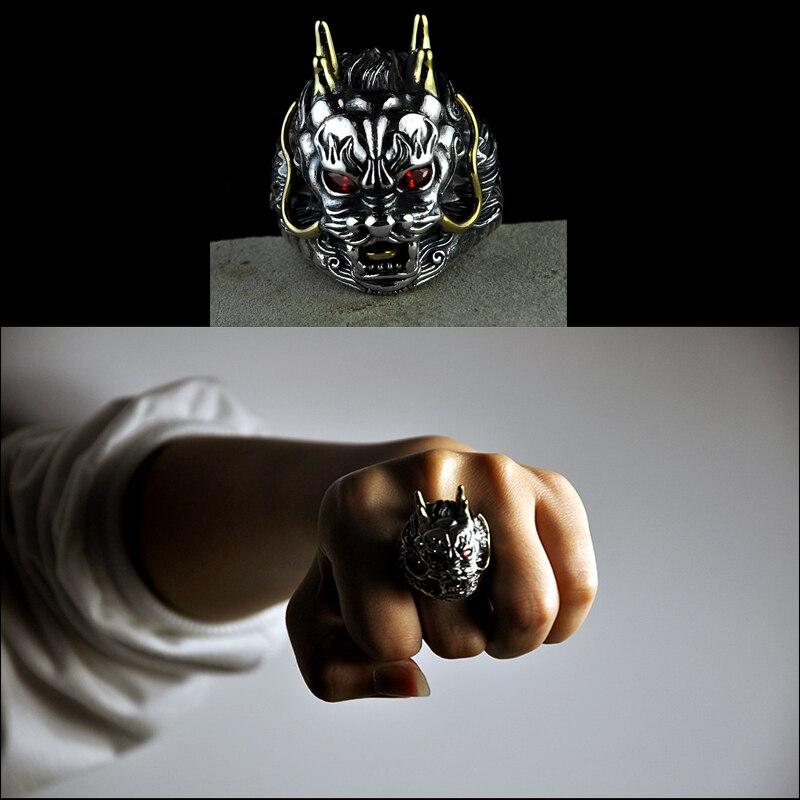 Chaud! Bague tête de Dragon dominatrice en argent Sterling 925 pour hommes taille réglable Vintage Thai argent bijoux de mode cadeaux d'anniversaire