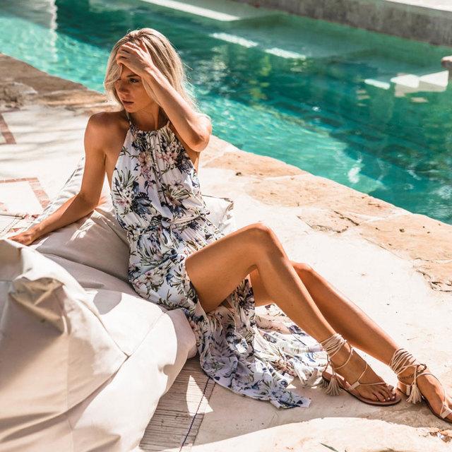 2019 Sexy Women Backless Summer Beach Maxi Dress