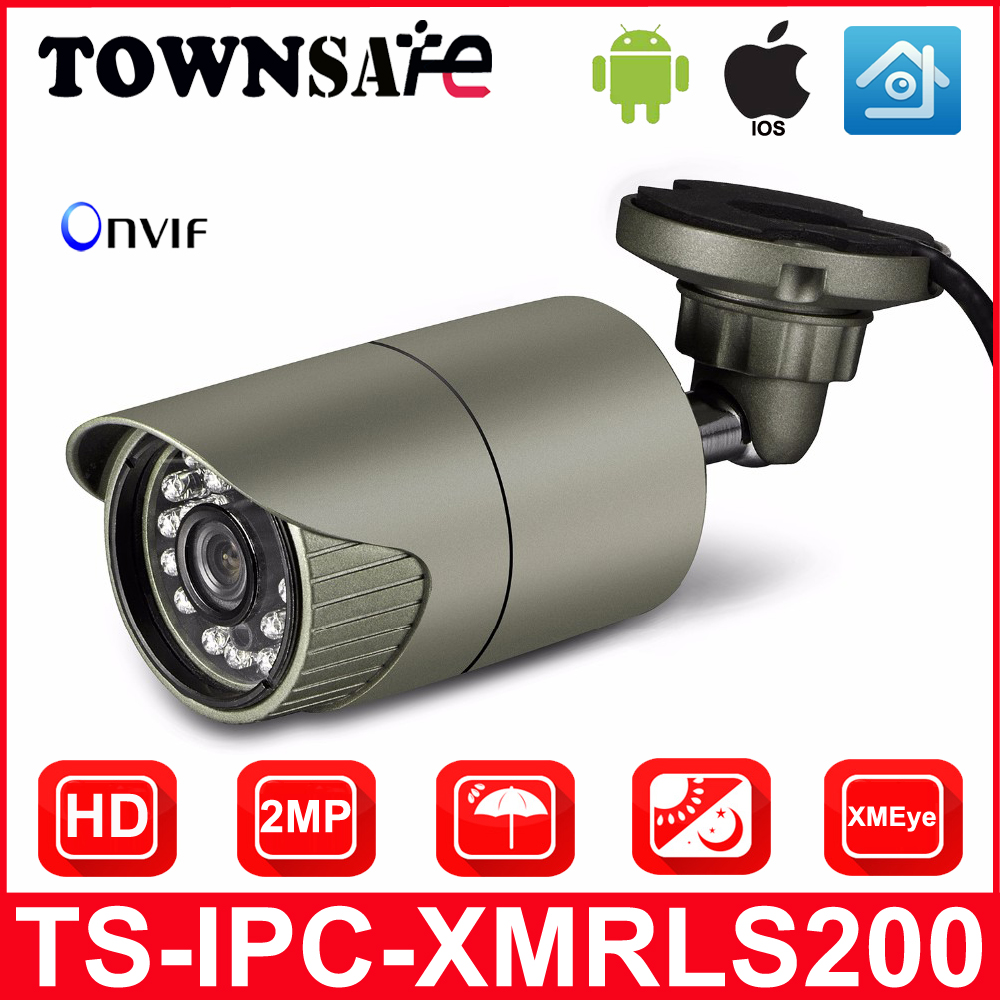 TOWNSAFE new Outdoor Waterproof Bullet IP Camera HD 1080P ( SONY IMX322 Sensor ) IR ONVIF P2P HISILION Processor LENS Optional wistino cctv camera metal housing outdoor use waterproof bullet casing for ip camera hot sale white color cover case