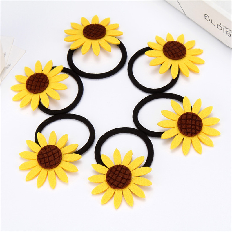10PCS/LOT Lovely Sunflower Elastic Hair Bands Toys For Girls Handmade Bow Headband Scrunchy Kids Hair Accessories For Women 2018