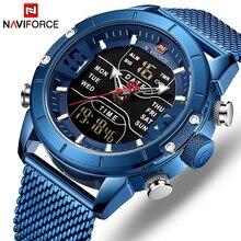 Relogio Masculino ผู้ชาย NAVIFORCE นาฬิกาแบรนด์หรูชายทหารกีฬาควอตซ์นาฬิกาข้อมือสแตนเลสนาฬิกา LED ดิจิตอลนาฬิกา