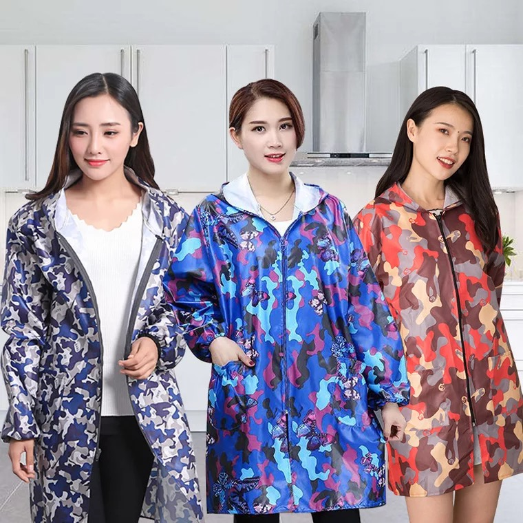 Camouflage Kitchen Apron Long-sleeved Fashion Gown Adult Female Waterproof And Oil-proof Men's Overalls Zipper