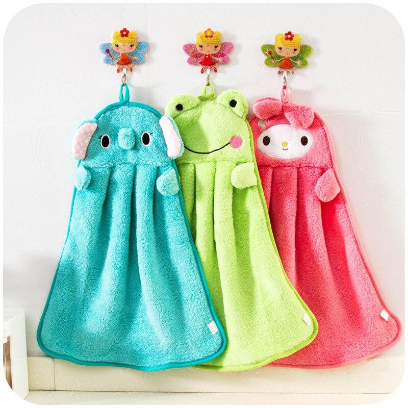 28*36CMBaby Hand Towel Toddler Coral Fleece Cartoon Animal Wipe Hanging Towel For Children Bathroom New Born Baby Towel
