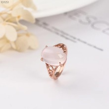 gemstone jewelry factory wholesale trendy 10x16mm ball shape 925 sterling silver natural pink crystal ring women