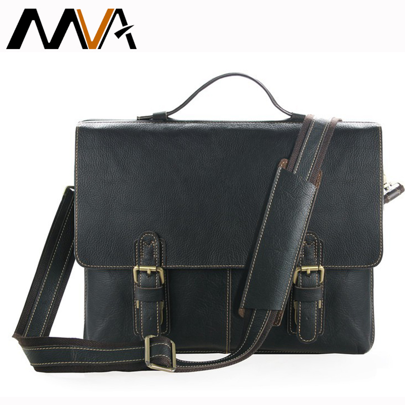 MVA Men's Briefcase Laptop Bag Crazy Horse Genuine Leather Bag Men Shoulder Bags Leather Handbags Totes Lager Business Briefcase mva business men s leather briefcase handbag totes vintage laptop bag crazy horse genuine leather men bag male shoulder bags