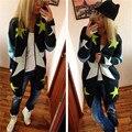 Mujeres Larga Floja Del Suéter Cardigans 2017 Mujeres de La Manera Ocasional Hecho Punto Cardigans de Manga Larga Outwears Calientes Modelo de Estrellas de Impresión