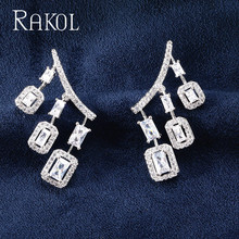 RAKOL Brand New Fashion Clear Square Cubic Zirconia Crystal Stud Earrings for Women Wedding Jewelry RE20315