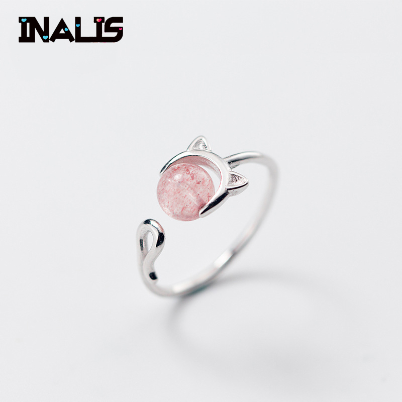 INALIS New Cute Cat Shape S925 Sterling Silver Finger Ring With Pink Strawberry Quartz Open Size Adjustable Fine Jewelry GirlINALIS New Cute Cat Shape S925 Sterling Silver Finger Ring With Pink Strawberry Quartz Open Size Adjustable Fine Jewelry Girl