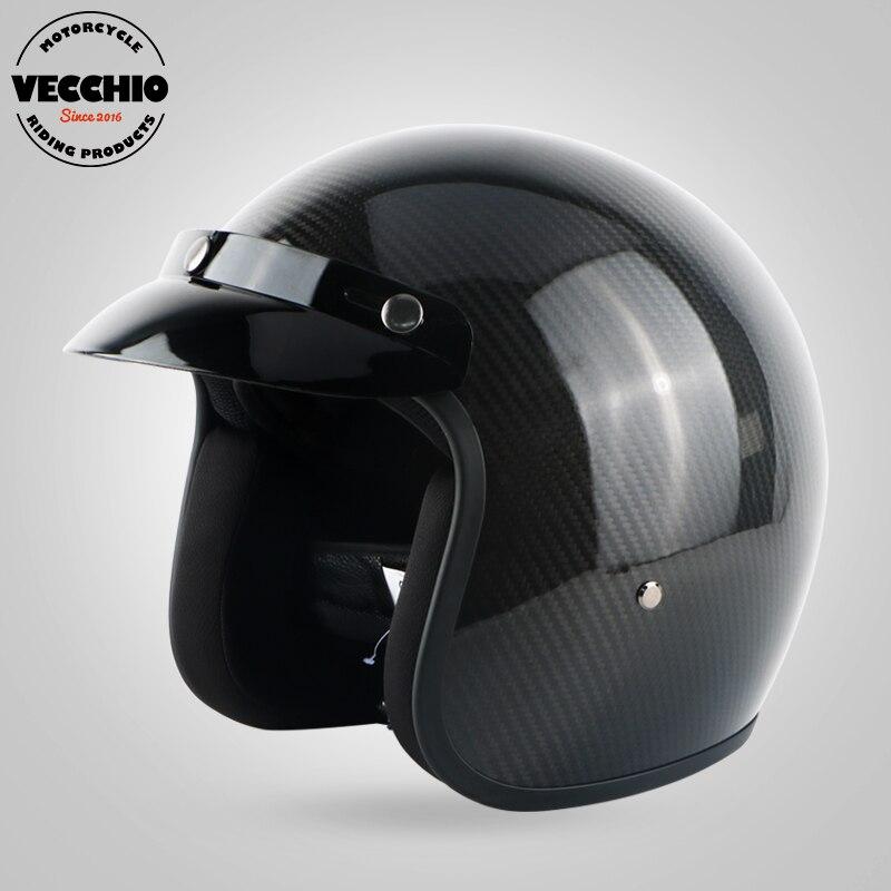 Motorcycle CarbonFiber open face helmets Motorbike motocross vintage casco capacete scooter vespa retro carbon helmet casque