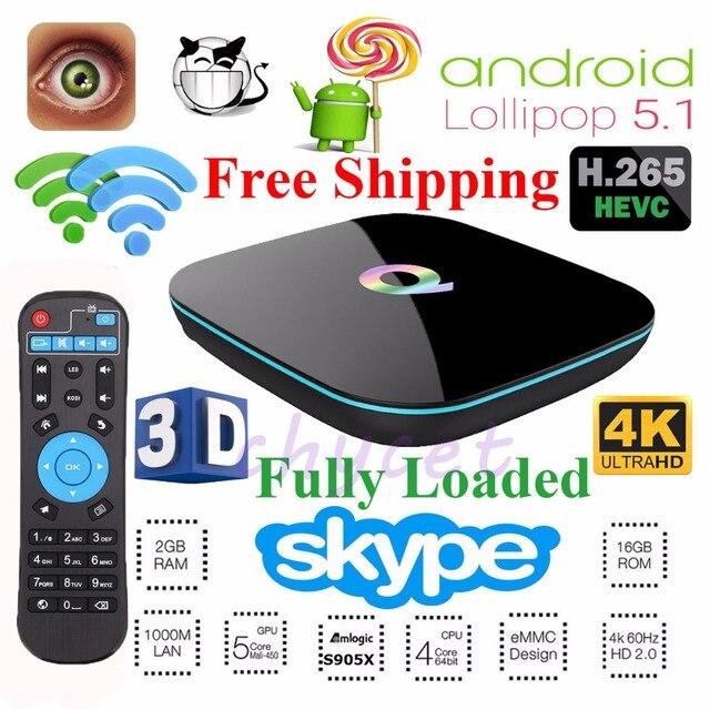 Caixa Q CHYCET Totalmente Carregado Android 6.0 CAIXA DE TV Amlogic S905X 2 GB de RAM 16 GB ROM Smart TV Box Wi-fi de Banda Dupla BT4.0
