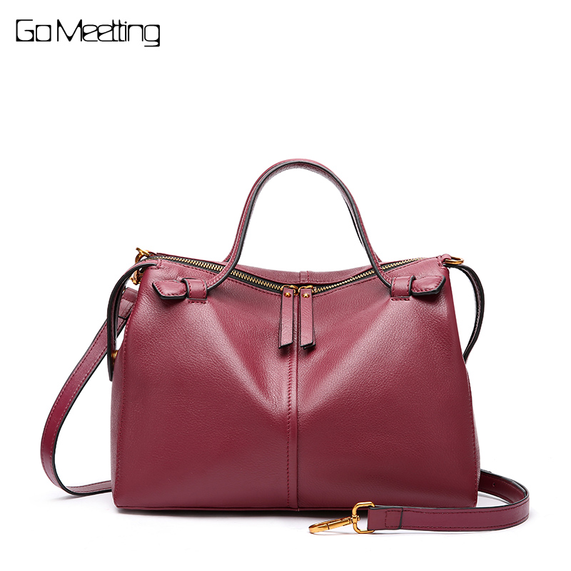 Go Meetting Women Genuine Leather Handbag Shoulder Bag High Quality Designer Luxury Brand Boston Messenger Crossbody Bags New 2017 fashion new high quality women designer shoulder bag beauty bow women retro handbag boston messenger bags genuine leather