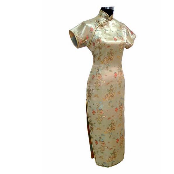 Новинка, длинное атласное женское платье чонсам, элегантное тонкое платье с высоким разрезом, традиционное платье ручной работы с пуговицами и цветами, Qipao, с коротким рукавом, Vestidos - Цвет: Animal 3