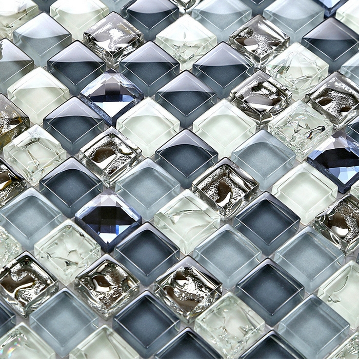 Mini 15 15mm Deep Ice Crackle Blue Color Crystal Glass